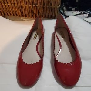 LOUISE ET CIE CAYNLEE SCALLOP RED FLATS SZ 9 EUC